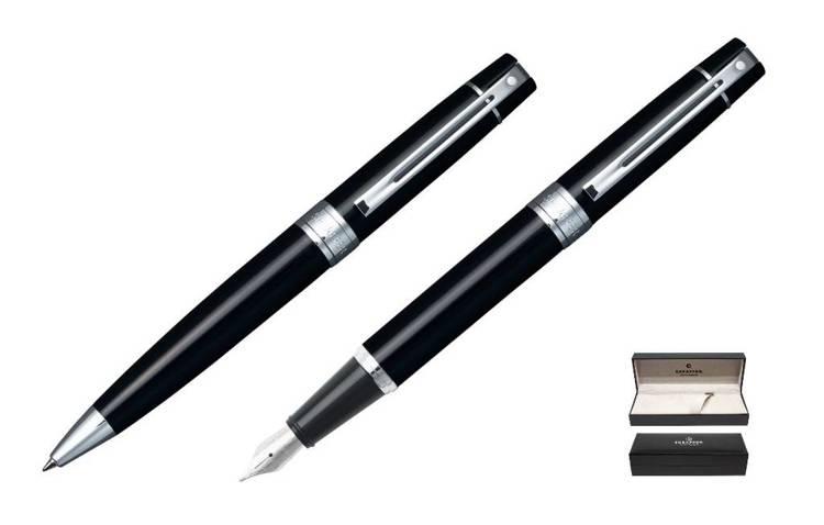 9312 Zestaw (pióro wieczne i długopis) Sheaffer kolekcja 300, czarne, wykończenia chromowane