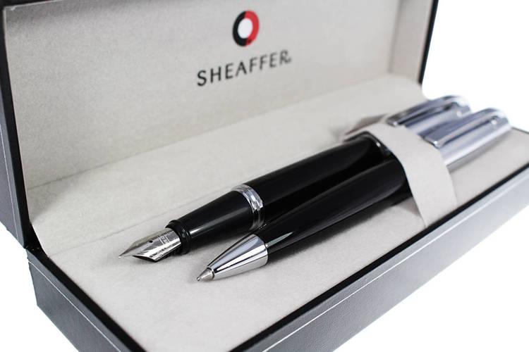 9314 Zestaw (pióro wieczne i długopis) Sheaffer kolekcja 300, czarne, wykończenia chromowane
