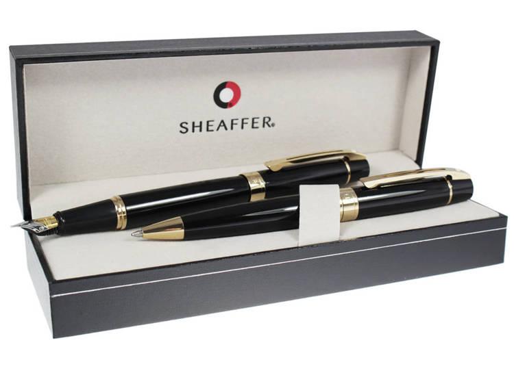 9325 Zestaw (pióro wieczne i długopis) Sheaffer kolekcja 300, czarne, wykończenia w kolorze złotym