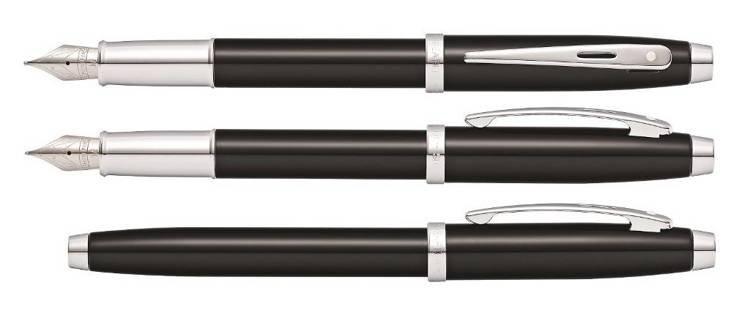 9338 PN Pióro wieczne Sheaffer kolekcja 100, czarne, wykończenia chromowane