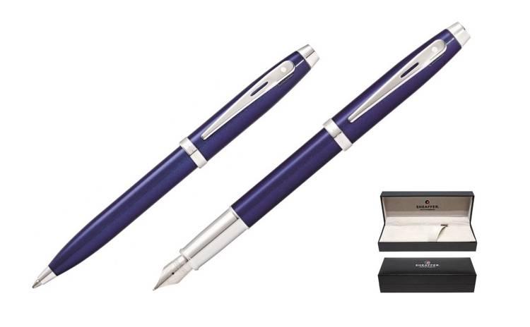 9339 Zestaw (pióro wieczne i długopis) Sheaffer kolekcja 100, niebieskie, wykończenia chromowane