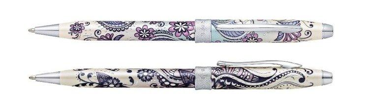 Długopis Cross Botanica Orchidea, motyw fioletowy, elementy chromowane