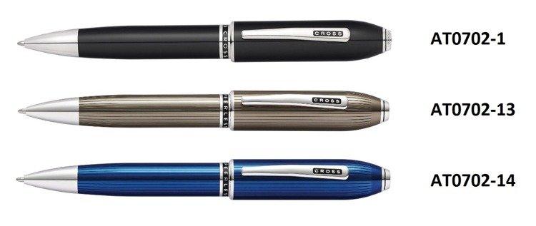 Długopis Cross Peerless prążkowane, niebieskie, elementy platerowane platyną