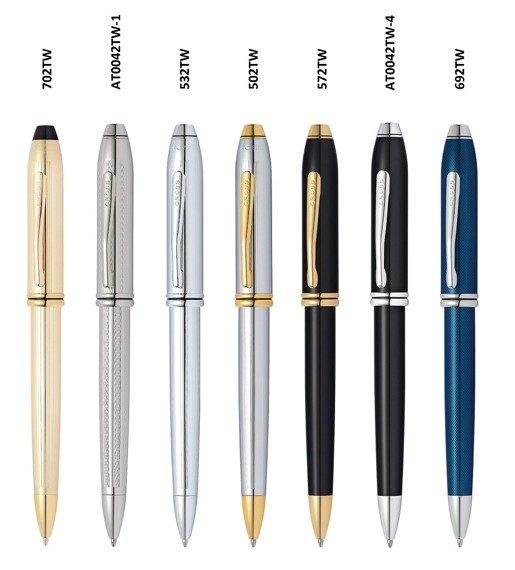 Długopis Cross Townsend czarne, elementy platerowane rodem