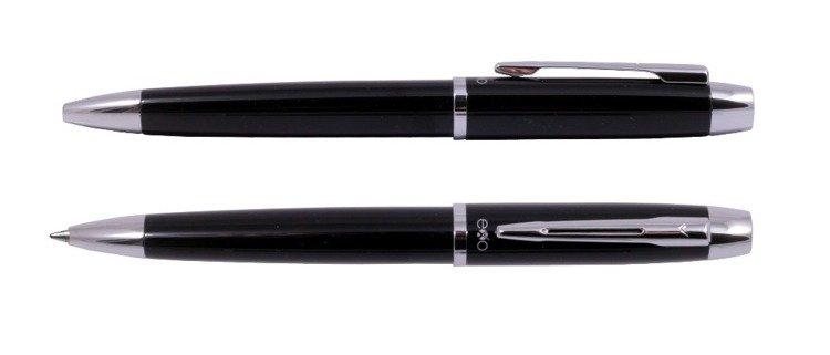 Długopis EXO Aries, czarny, wykończenia chromowane