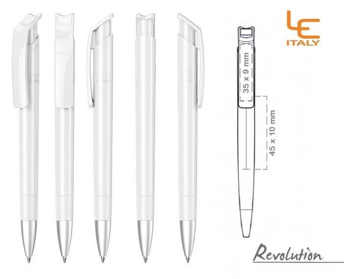 Długopis LE ITALY Revolution solid ALrPET biały