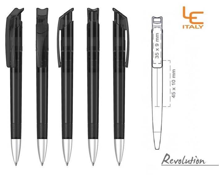 Długopis LE ITALY Revolution transparentny ALrPET czarny