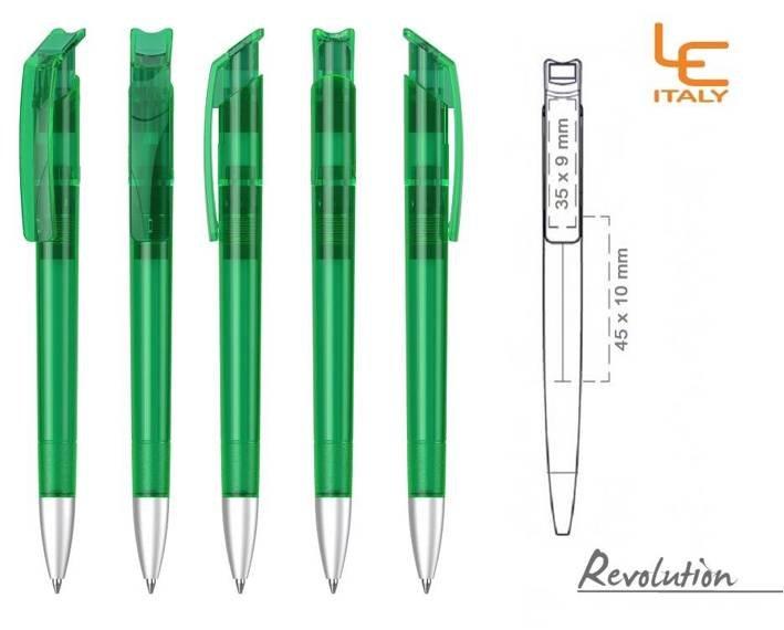 Długopis LE ITALY Revolution transparentny ALrPET zielony