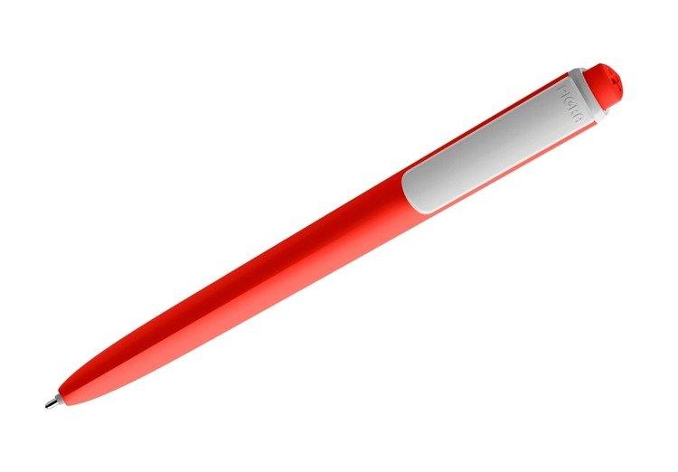 Długopis PIGRA P02, czerwony z białym klipsem