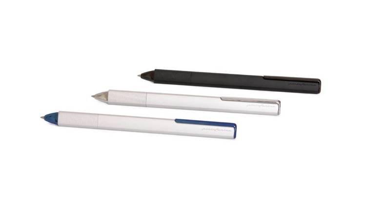 PININFARINA PF ONE długopis w kolorze srebrnym, niebieskie wykończenia