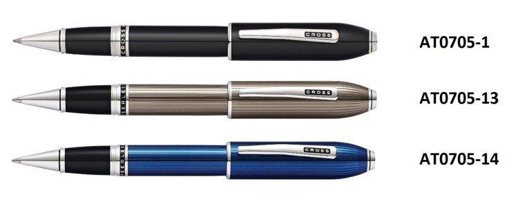 Pióro kulkowe Cross Peerless prążkowane, niebieskie, elementy platerowane platyną