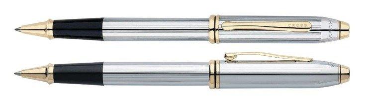 Pióro kulkowe Cross Townsend chromowane, elementy pokryte 23k złotem