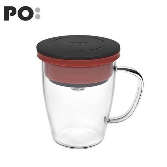 Szklanka z zaparzaczem PO: Duo, czarno-czerwony