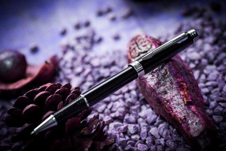 Zestaw (pióro kulkowe i długopis) EXO Sagitta, czarny, wykończenia chromowane