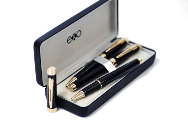 Zestaw (pióro kulkowe i długopis) EXO Sagitta, czarny, złote elementy