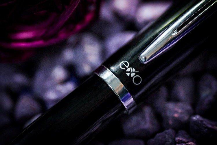 Zestaw (pióro wieczne i długopis) EXO Aries, czarny, wykończenia chromowane