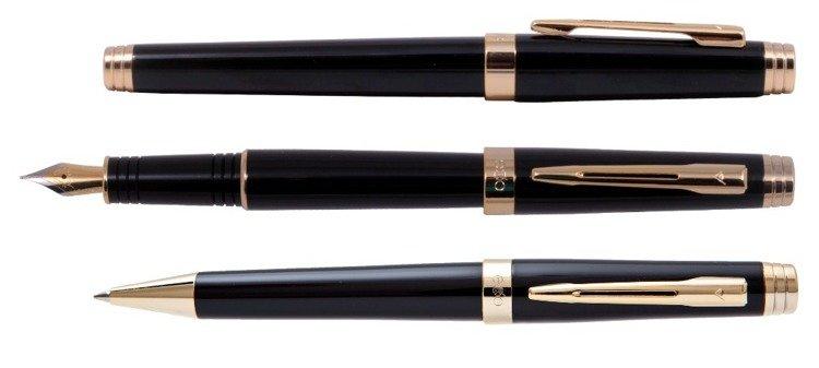 Zestaw (pióro wieczne i długopis) EXO Sagitta, czarny, wykończenia złote